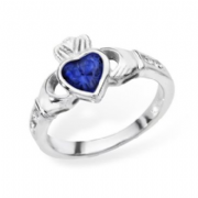 Sterling silver rubover set sapphire cubic zirconia claddagh ring